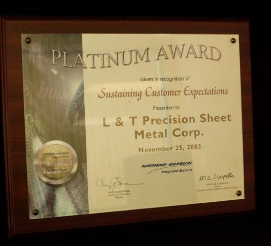 Northrop Grumman's Platinum Award for Sustaining Customer Expectations