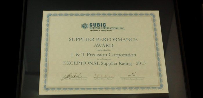 Cubic Defense's Supplier Performance Award